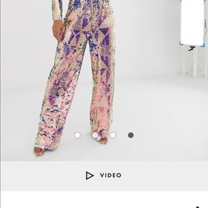 Wide leg trouser multi sequin